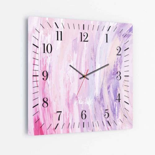 Sonic Wave Pink - Square Glass Clock